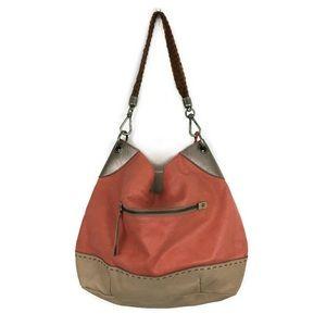 The Sak Coral Tan Two Tone Leather Hobo Purse